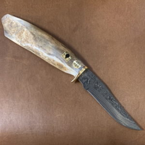 "Damascus Blade Knife with Ancient Ivory ""Survival Tool"" Handle"
