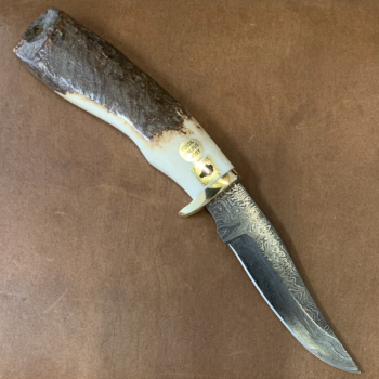 Damascus Blade Knife with Ancient Eskimo Artifact Handle