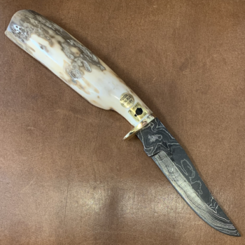 """Damascus Blade Knife with Ancient Ivory """"Survival Tool"""" Handle"""