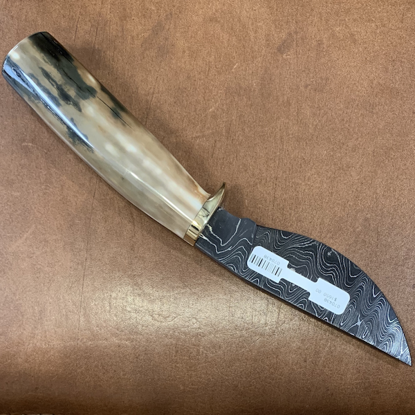Damascus Blade Hunting Knife with Fossil Walrus Ivory Handle