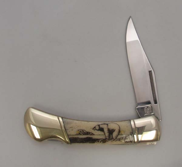 3.75 Inch Bone Handle Pocket Knife with Black Scrimshaw Artwork
