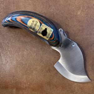 Ulu Style Pocket Knife with Dymond Wood Handle