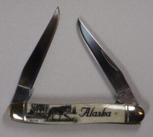 4 Inch Bone Handle 2 Blade Pocket Knife with Scrimshaw Artwork