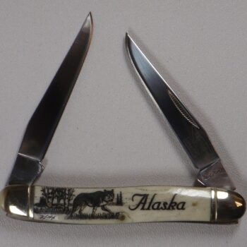 4 Inch Bone Handle 2 Blade Pocket Knife with Scrimshaw Artwork