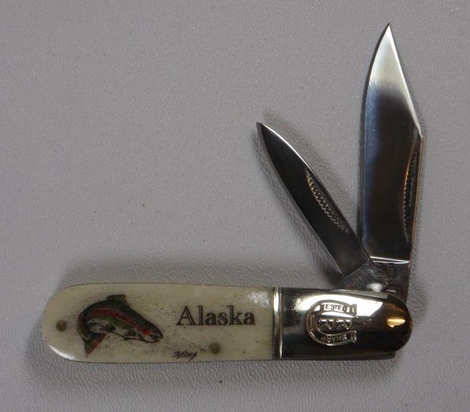 """3.25"""" Bone Handle 2 Blade Pocket Knife with Scrimshaw Artwork"""