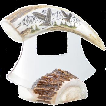 Caribou Antler Scrimshawed Ulu Knife