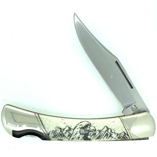 5 Inch Bone Handle Pocket Knife with Black Ink Scrimshaw