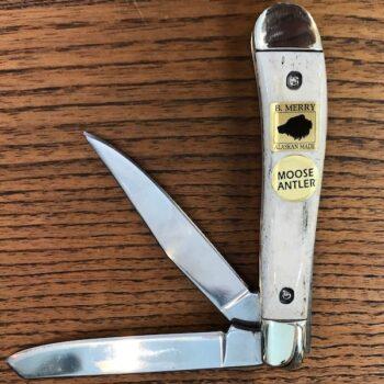 Pocket Knife with Moose Antler Handle