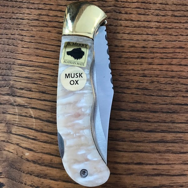 Pocket Knife with Muskox Horn Handle