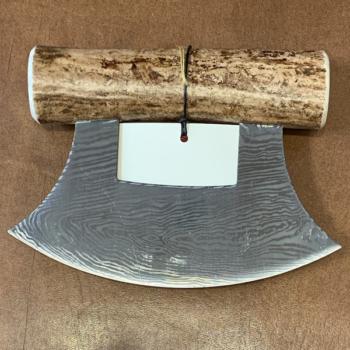 Ulu Knife with Caribou Antler Handle and Base