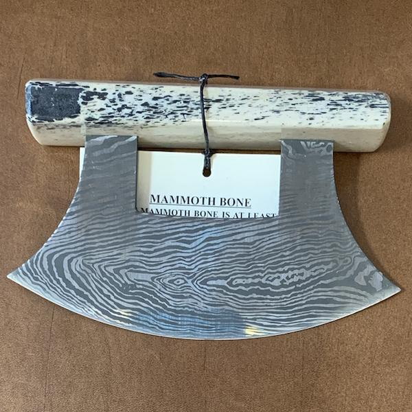 Ulu Knife with Mammoth Bone Handle and Base