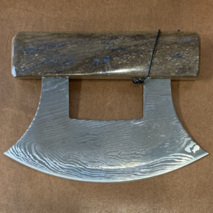 Ulu Knife with Mammoth Bone Handle and Base