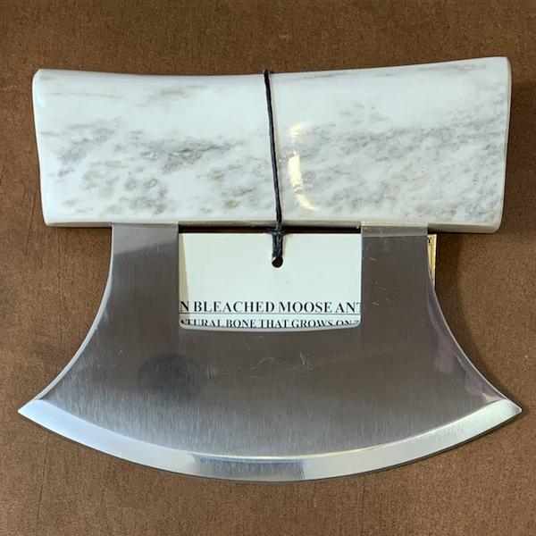 Ulu Knife with Moose Antler Handle and Base