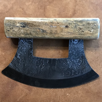 Damascus Blade Ulu Knife with Mammoth Bone Handle and Base