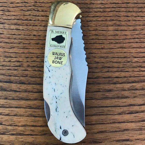 Pocket Knife with Walrus Jaw Bone Handle