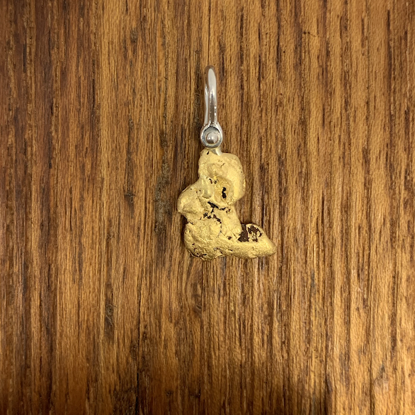 Natural Gold Nugget Pendant with Silver Shackle Style Bail