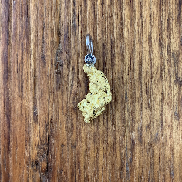 Natural Gold Nugget Pendant with Platinum Shackle Style Bail