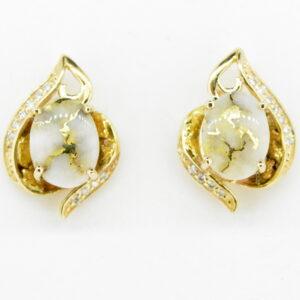 Gold Quartz & Diamond Post Earrings