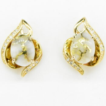 Gold Quartz & Diamond Post Earrings