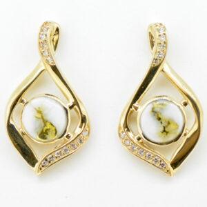 Gold Quartz/Diamond Post Earrings