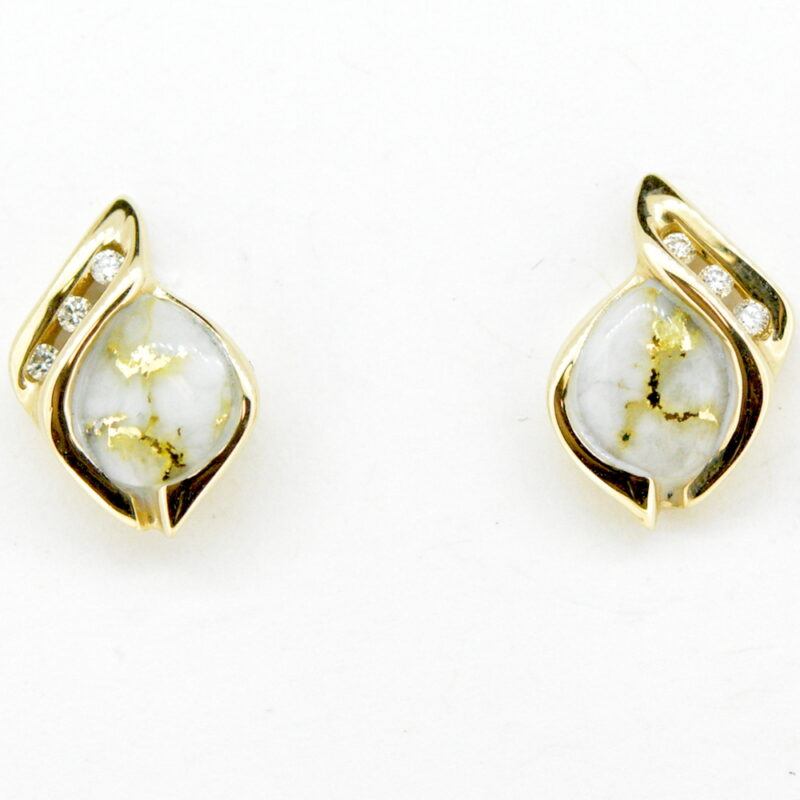 Gold Quartz/Diamond Post Earrings