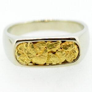 Men's Gold Nugget Ring White Gold