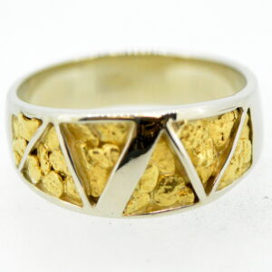 Men's Gold Nugget Ring White Gold