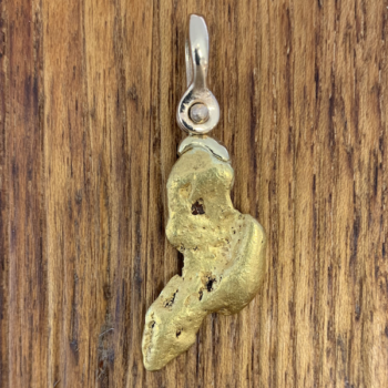 Natural Gold Nugget Pendant with 18k Gold Shackle Style Bail