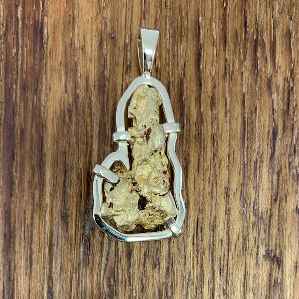 Natural Gold Nugget Pendant with 18k Gold Frame